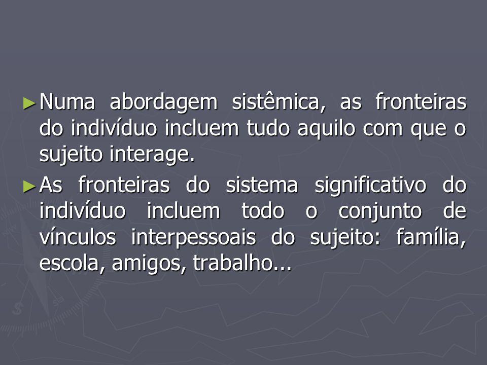 ► Numa abordagem sistêmica, as fronteiras do indivíduo incluem tudo aquilo com que o sujeito interage. ► As fronteiras do sistema significativo do ind