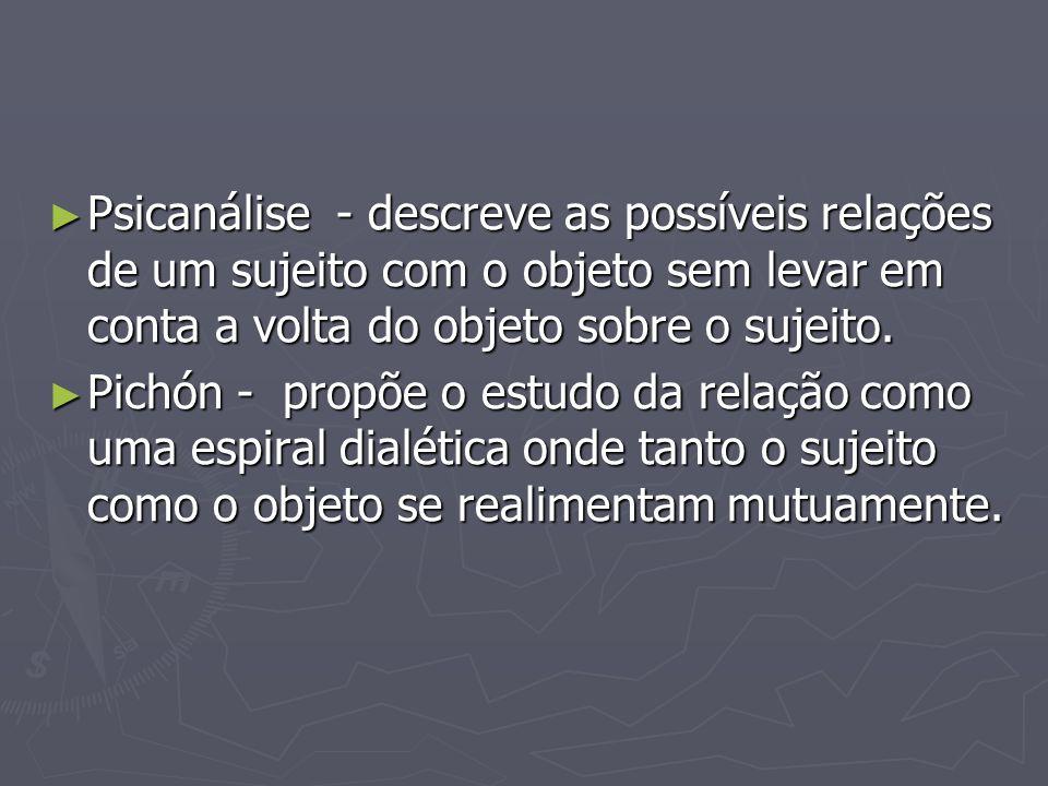 ► Psicanálise - descreve as possíveis relações de um sujeito com o objeto sem levar em conta a volta do objeto sobre o sujeito. ► Pichón - propõe o es
