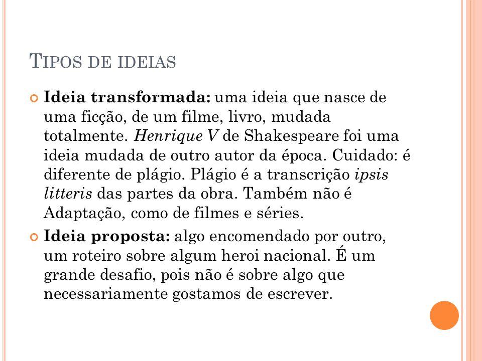 T IPOS DE IDEIAS Ideia transformada: uma ideia que nasce de uma ficção, de um filme, livro, mudada totalmente.
