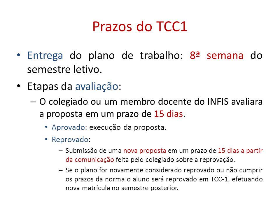 Prazos do TCC1 • Entrega do plano de trabalho: 8ª semana do semestre letivo. • Etapas da avaliação: – O colegiado ou um membro docente do INFIS avalia