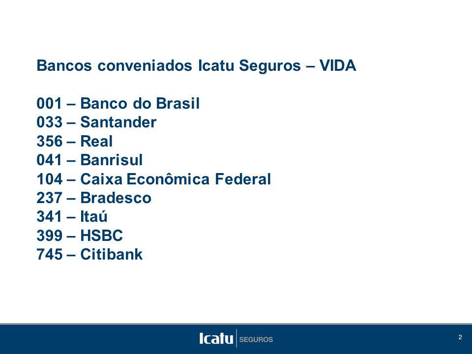 2 Bancos conveniados Icatu Seguros – VIDA 001 – Banco do Brasil 033 – Santander 356 – Real 041 – Banrisul 104 – Caixa Econômica Federal 237 – Bradesco