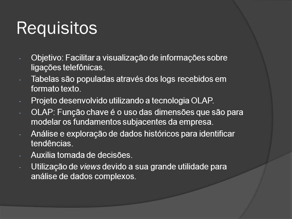 Requisitos - Objetivo: Facilitar a visualização de informações sobre ligações telefônicas. - Tabelas são populadas através dos logs recebidos em forma