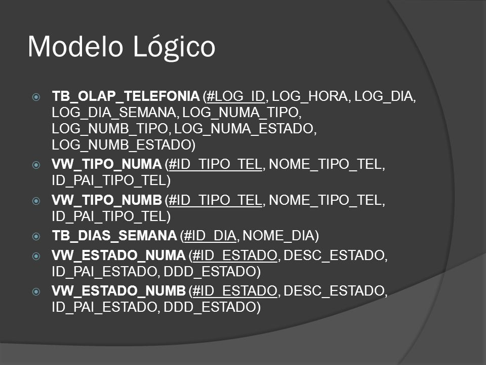 Criação dos indexes -- Create primary key constraint alter table TB_OLAP_TELEFONIA add constraint PK_LOG_ID primary key (LOG_ID) -- Create/Recreate indexes create index IX_LOG_NUMA_ESTADO on TB_OLAP_TELEFONIA (LOG_NUMA_ESTADO) create index IX_LOG_NUMB_ESTADO on TB_OLAP_TELEFONIA (LOG_NUMB_ESTADO)