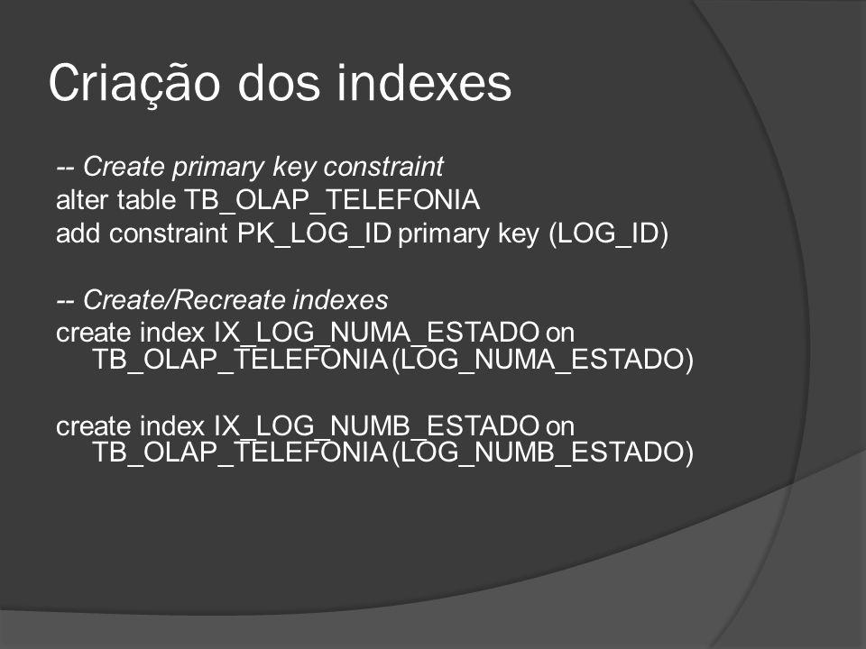 Criação dos indexes -- Create primary key constraint alter table TB_OLAP_TELEFONIA add constraint PK_LOG_ID primary key (LOG_ID) -- Create/Recreate in