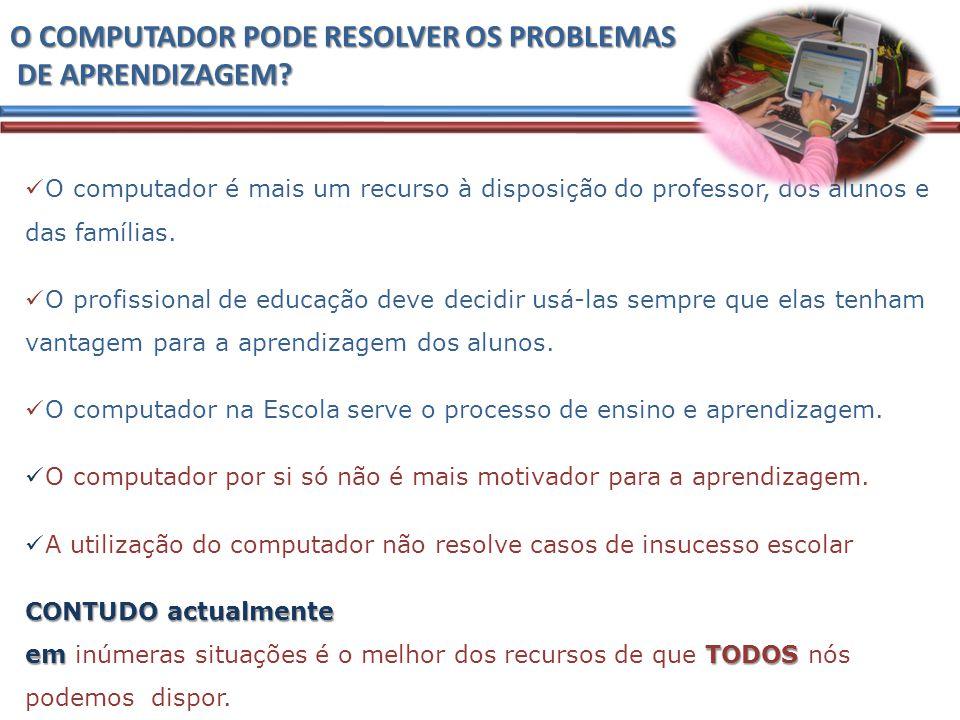 O COMPUTADOR PODE RESOLVER OS PROBLEMAS DE APRENDIZAGEM.