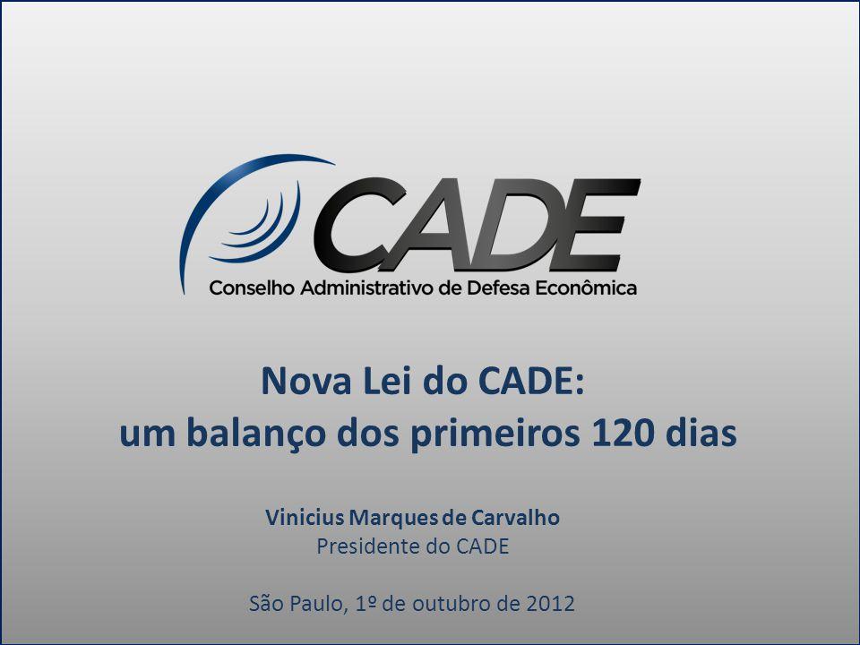Nova Lei do CADE: um balanço dos primeiros 120 dias Vinicius Marques de Carvalho Presidente do CADE São Paulo, 1º de outubro de 2012