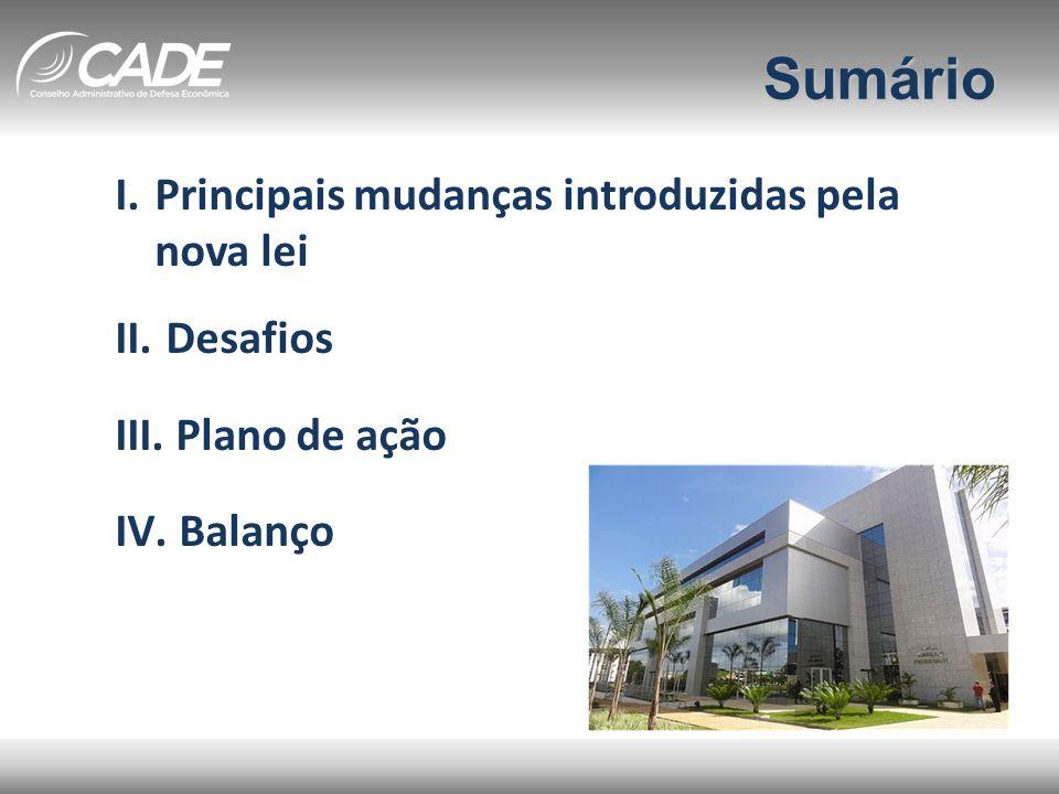 I) Principais mudanças • Reformulação da estrutura do SBDC • Sistema de análise prévia • Novos critérios de notificação • Novos parâmetros para multas