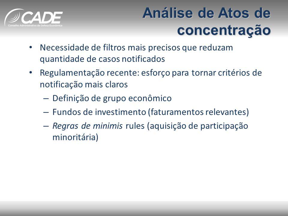 Análise de Atos de concentração • Necessidade de filtros mais precisos que reduzam quantidade de casos notificados • Regulamentação recente: esforço p