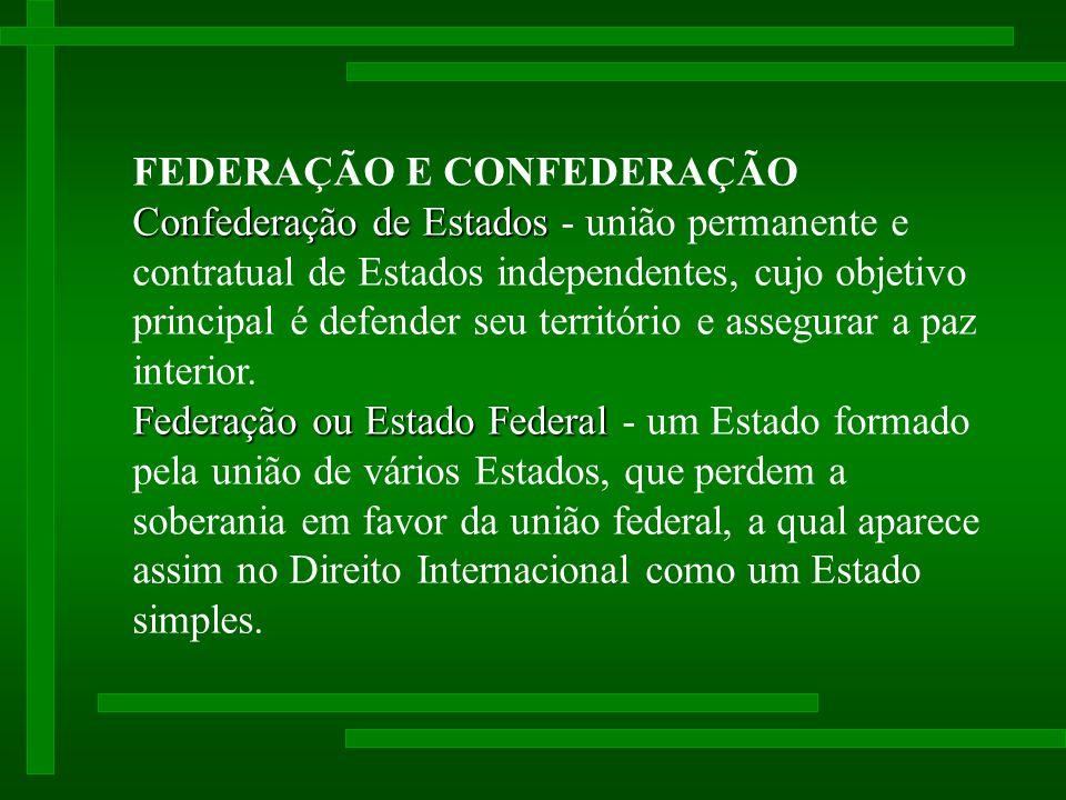 FEDERAÇÃO E CONFEDERAÇÃO Confederação de Estados Confederação de Estados - união permanente e contratual de Estados independentes, cujo objetivo principal é defender seu território e assegurar a paz interior.
