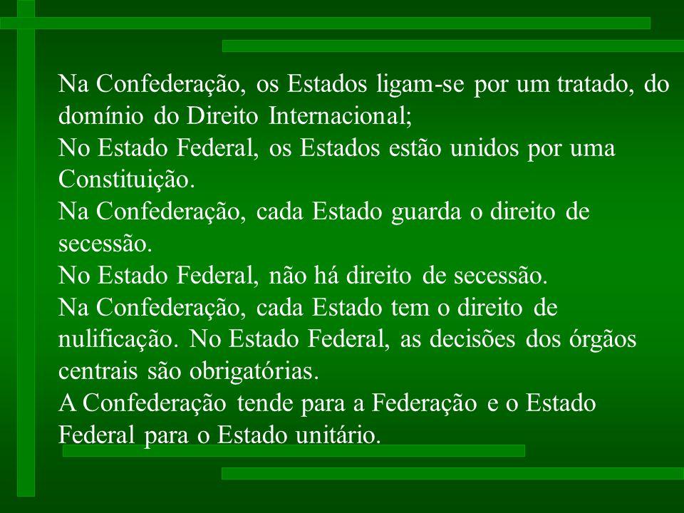Na Confederação, os Estados ligam-se por um tratado, do domínio do Direito Internacional; No Estado Federal, os Estados estão unidos por uma Constituição.