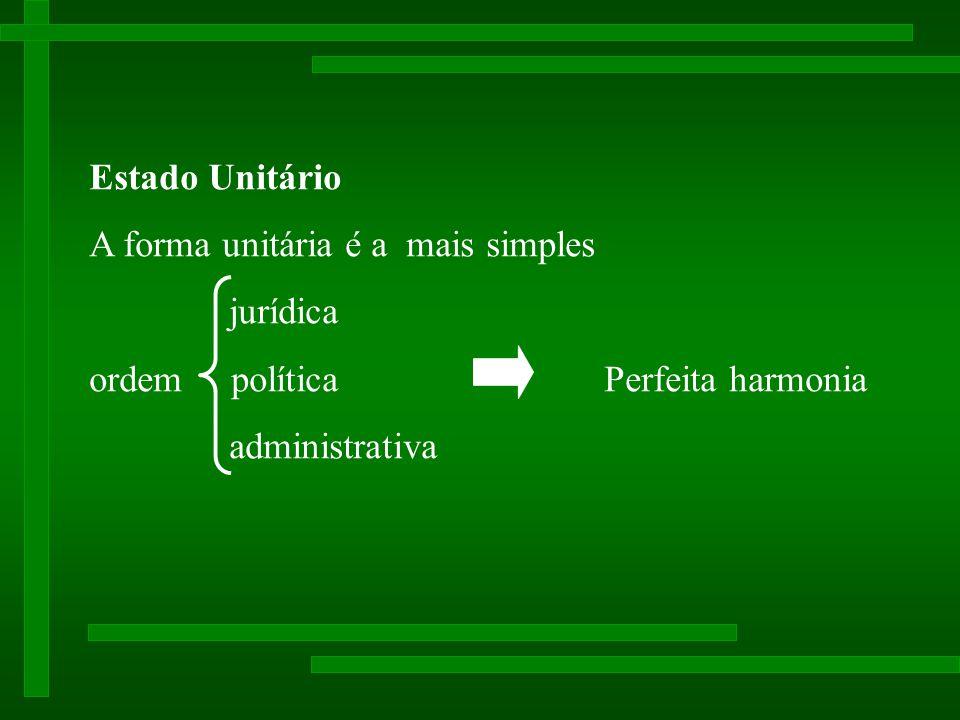 Estado Unitário A forma unitária e a mais simples jurídica ordem política Perfeita harmonia administrativa