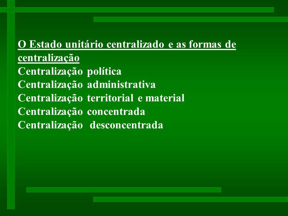 O Estado unitário centralizado e as formas de centralização Centralização política Centralização administrativa Centralização territorial e material Centralização concentrada Centralização desconcentrada