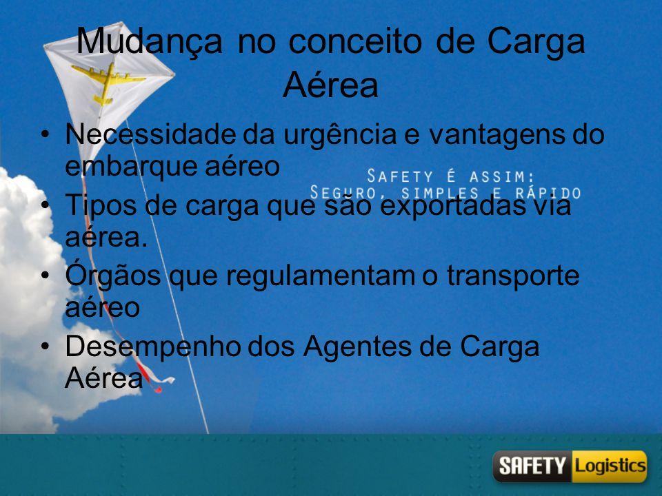 Mudança no conceito de Carga Aérea •Necessidade da urgência e vantagens do embarque aéreo •Tipos de carga que são exportadas via aérea. •Órgãos que re