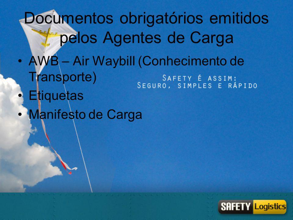 Documentos obrigatórios emitidos pelos Agentes de Carga •AWB – Air Waybill (Conhecimento de Transporte) •Etiquetas •Manifesto de Carga