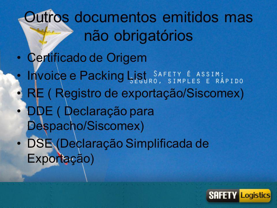 Outros documentos emitidos mas não obrigatórios •Certificado de Origem •Invoice e Packing List •RE ( Registro de exportação/Siscomex) •DDE ( Declaraçã