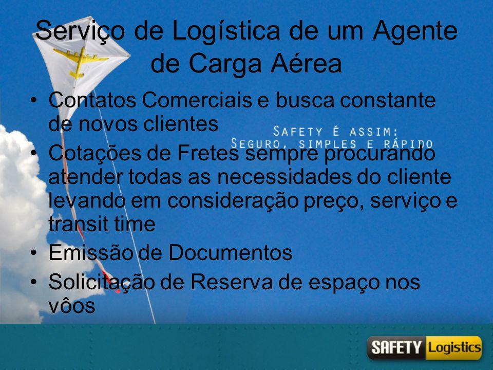 Serviço de Logística de um Agente de Carga Aérea •Contatos Comerciais e busca constante de novos clientes •Cotações de Fretes sempre procurando atende