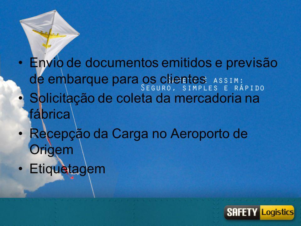 •Envio de documentos emitidos e previsão de embarque para os clientes •Solicitação de coleta da mercadoria na fábrica •Recepção da Carga no Aeroporto
