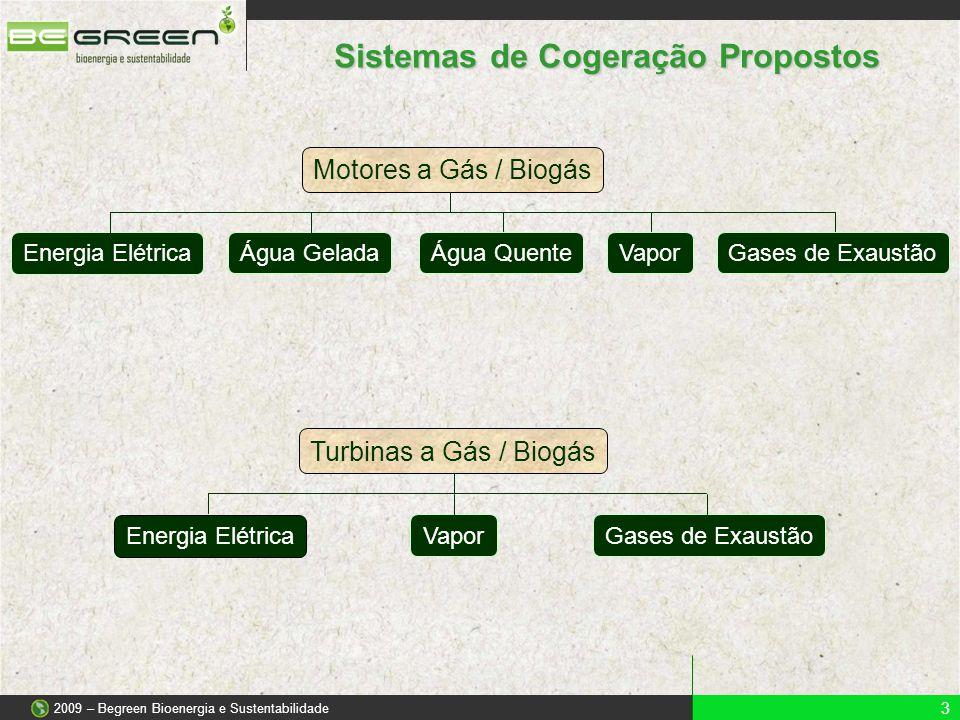 Sistemas de Cogeração Propostos 3 2009 – Begreen Bioenergia e Sustentabilidade Motores a Gás / Biogás Energia Elétrica Água GeladaÁgua QuenteVaporGase