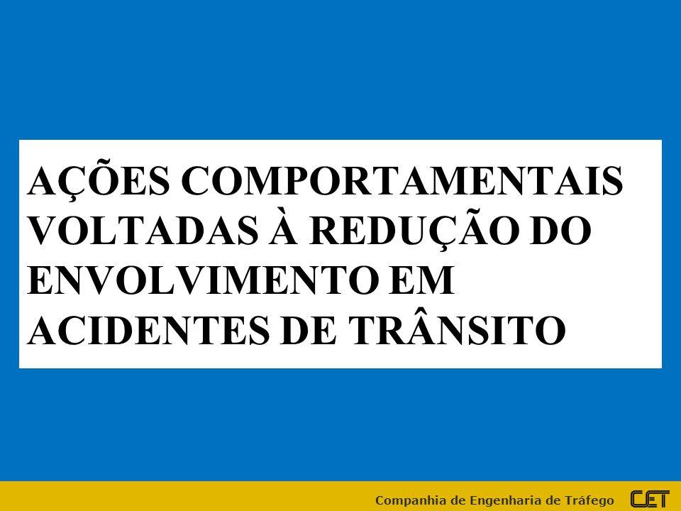 Companhia de Engenharia de Tráfego AÇÕES COMPORTAMENTAIS VOLTADAS À REDUÇÃO DO ENVOLVIMENTO EM ACIDENTES DE TRÂNSITO