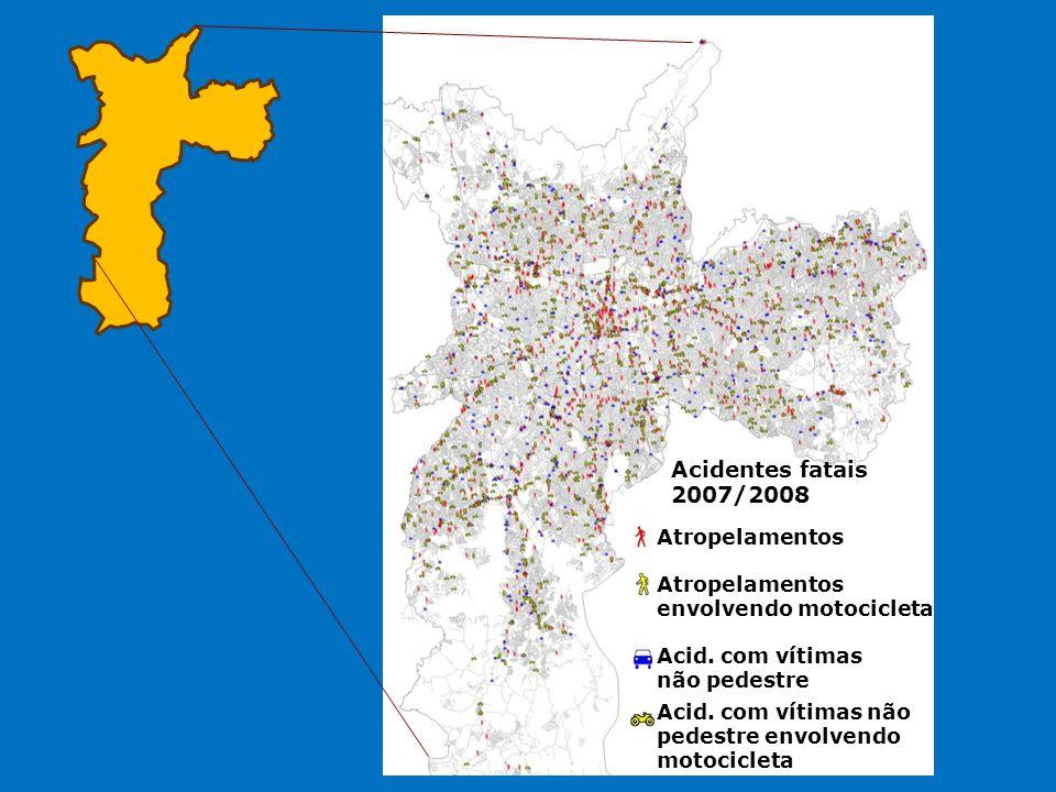 Acidentes fatais 2007/2008 Atropelamentos Atropelamentos envolvendo motocicleta Acid. com vítimas não pedestre envolvendo motocicleta Acid. com vítima