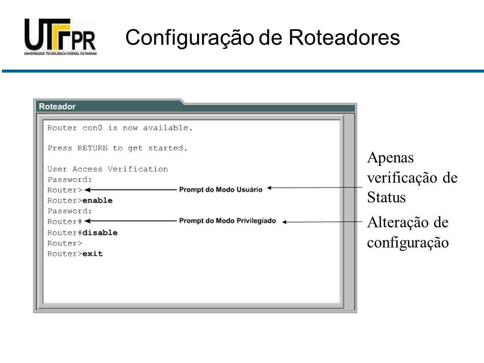 Apenas verificação de Status Alteração de configuração Configuração de Roteadores