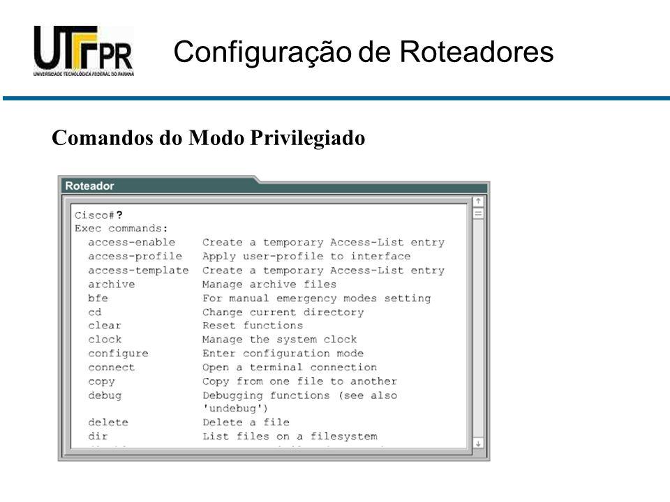 Comandos do Modo Privilegiado Configuração de Roteadores
