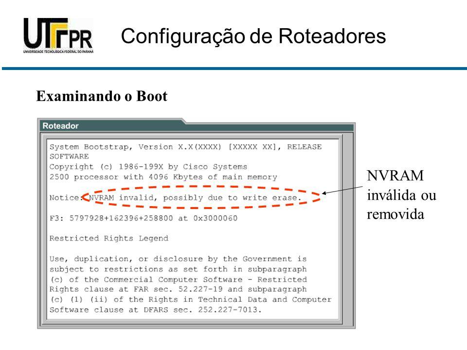 Examinando o Boot NVRAM inválida ou removida Configuração de Roteadores