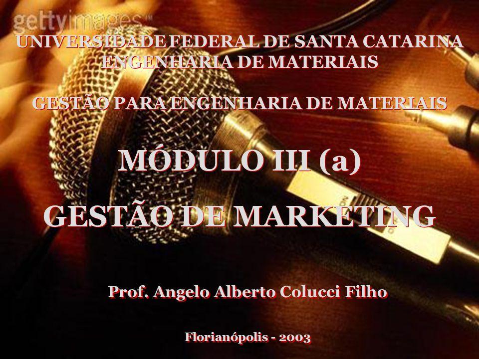 UNIVERSIDADE FEDERAL DE SANTA CATARINA ENGENHARIA DE MATERIAIS GESTÃO PARA ENGENHARIA DE MATERIAIS UNIVERSIDADE FEDERAL DE SANTA CATARINA ENGENHARIA DE MATERIAIS GESTÃO PARA ENGENHARIA DE MATERIAIS MÓDULO III (a) GESTÃO DE MARKETING Prof.