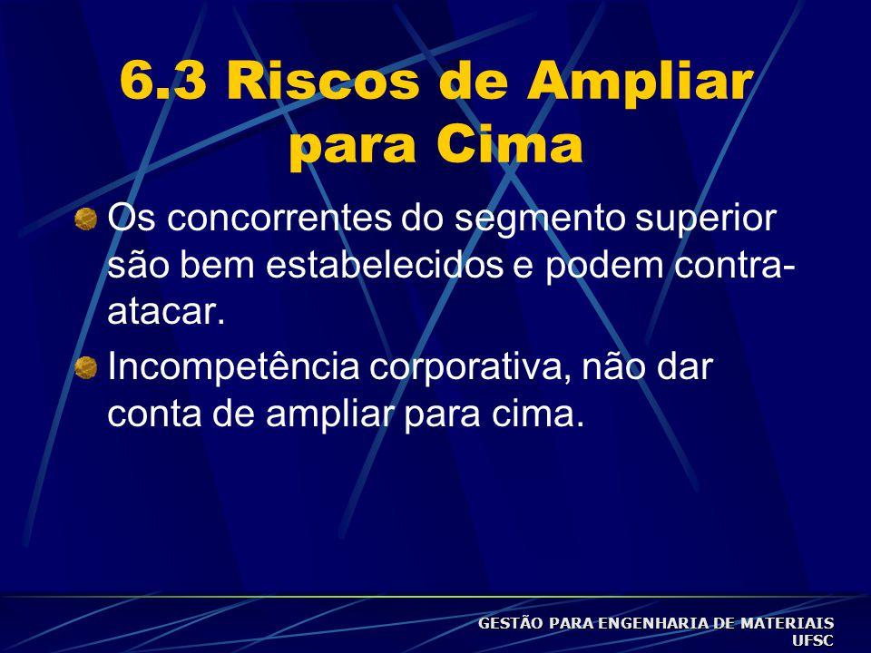 6.3 Riscos de Ampliar para Cima Os concorrentes do segmento superior são bem estabelecidos e podem contra- atacar.