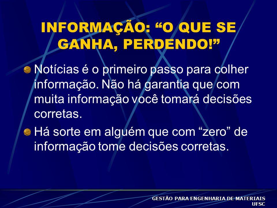 INFORMAÇÃO: O QUE SE GANHA, PERDENDO! Notícias é o primeiro passo para colher informação.
