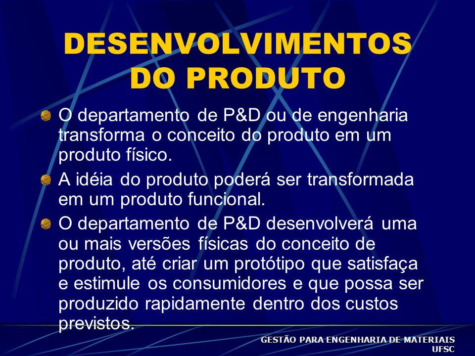 DESENVOLVIMENTOS DO PRODUTO O departamento de P&D ou de engenharia transforma o conceito do produto em um produto físico.