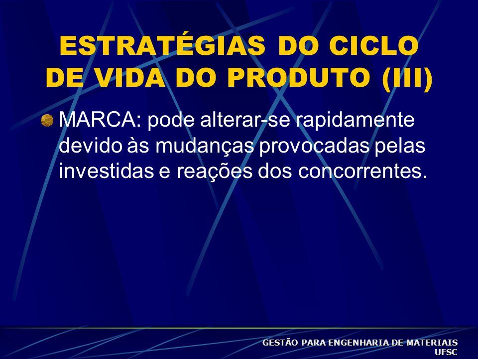 ESTRATÉGIAS DO CICLO DE VIDA DO PRODUTO (III) MARCA: pode alterar-se rapidamente devido às mudanças provocadas pelas investidas e reações dos concorrentes.
