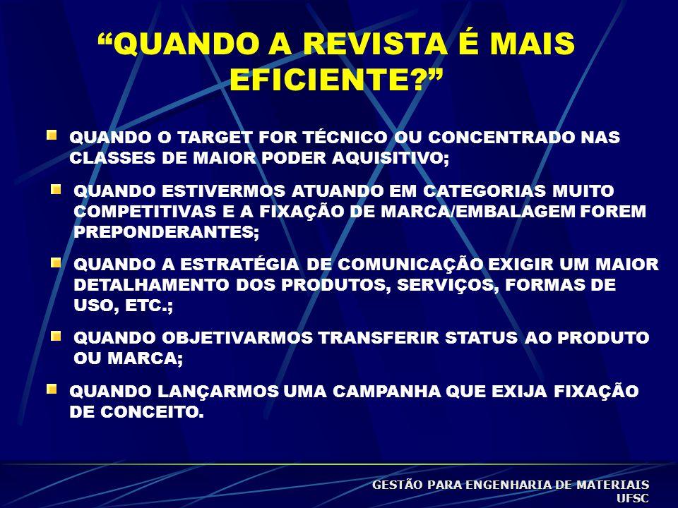 QUANDO O TARGET FOR TÉCNICO OU CONCENTRADO NAS CLASSES DE MAIOR PODER AQUISITIVO; QUANDO ESTIVERMOS ATUANDO EM CATEGORIAS MUITO COMPETITIVAS E A FIXAÇÃO DE MARCA/EMBALAGEM FOREM PREPONDERANTES; QUANDO A ESTRATÉGIA DE COMUNICAÇÃO EXIGIR UM MAIOR DETALHAMENTO DOS PRODUTOS, SERVIÇOS, FORMAS DE USO, ETC.; QUANDO OBJETIVARMOS TRANSFERIR STATUS AO PRODUTO OU MARCA; QUANDO LANÇARMOS UMA CAMPANHA QUE EXIJA FIXAÇÃO DE CONCEITO.