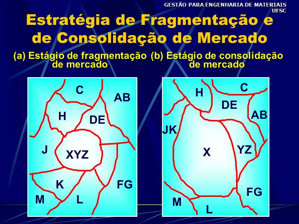 Estratégia de Fragmentação e de Consolidação de Mercado (a) Estágio de fragmentação de mercado M C J XYZ KFG L DE AB H (b) Estágio de consolidação de mercado X M C AB DE FG JK L YZ H GESTÃO PARA ENGENHARIA DE MATERIAIS UFSC