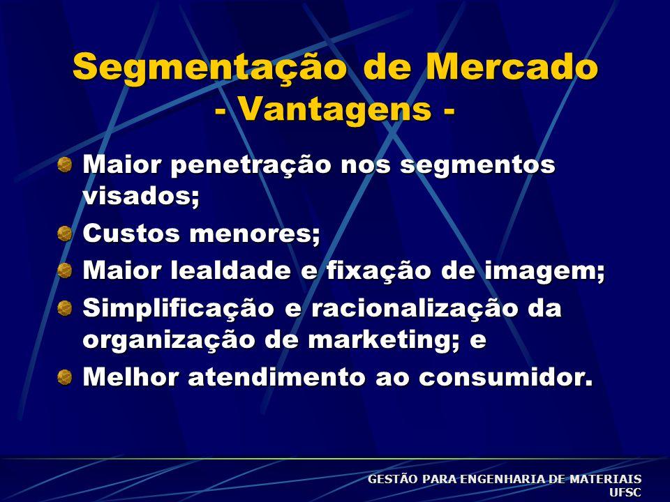 Segmentação de Mercado - Vantagens - Maior penetração nos segmentos visados; Custos menores; Maior lealdade e fixação de imagem; Simplificação e racionalização da organização de marketing; e Melhor atendimento ao consumidor.