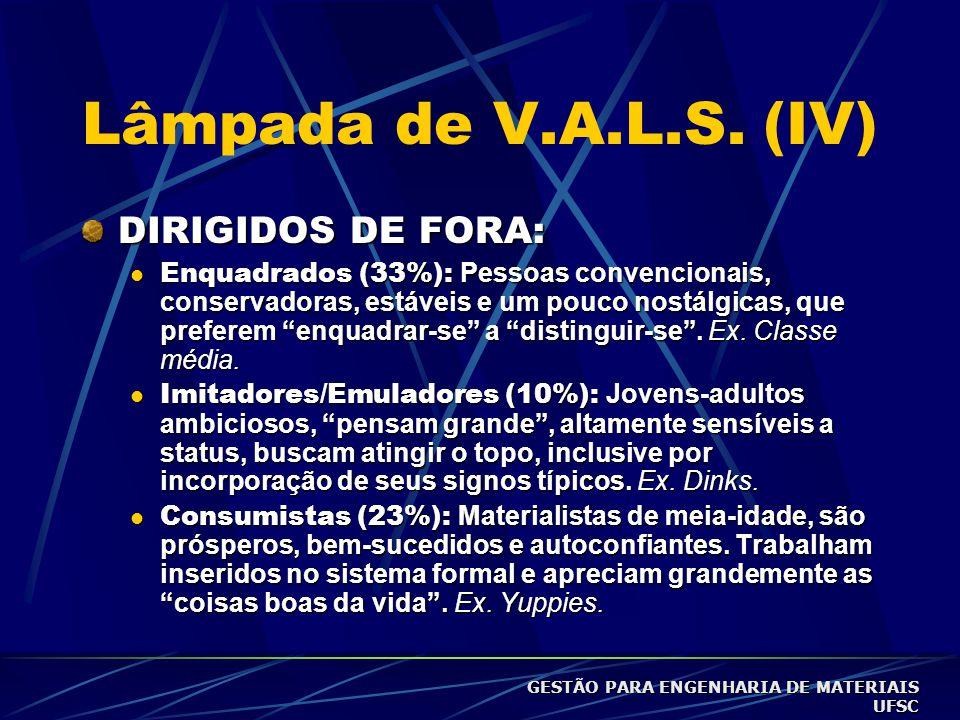 Lâmpada de V.A.L.S. (III) DIRECIONADOS:  Sobreviventes (4%): Mais idosos e pobres, com características depressivas e pouco otimistas com relação ao f
