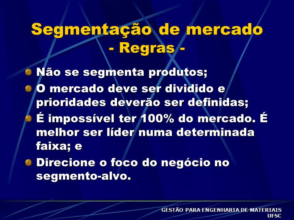 Segmentação de mercado - Regras - Não se segmenta produtos; O mercado deve ser dividido e prioridades deverão ser definidas; É impossível ter 100% do mercado.