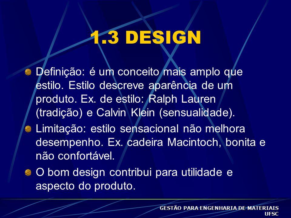 1.3 DESIGN Definição: é um conceito mais amplo que estilo.