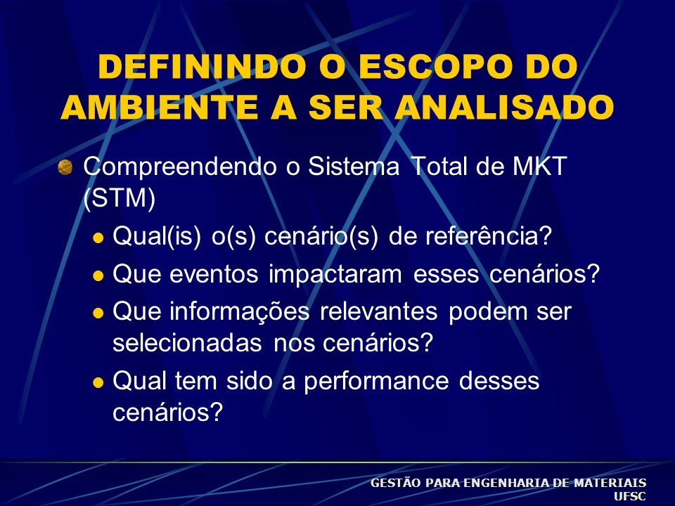 DEFININDO O ESCOPO DO AMBIENTE A SER ANALISADO Compreendendo o Sistema Total de MKT (STM)  Qual(is) o(s) cenário(s) de referência.