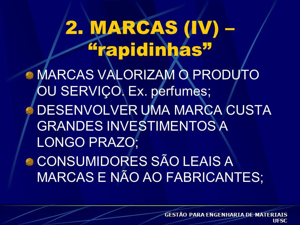 """2. MARCAS (III) – """"rapidinhas"""" Marcas comandam a lealdade do consumidor/têm franquia do consumidor. Ex. cigarros. Marca é nome, termo, signo, símbolo"""