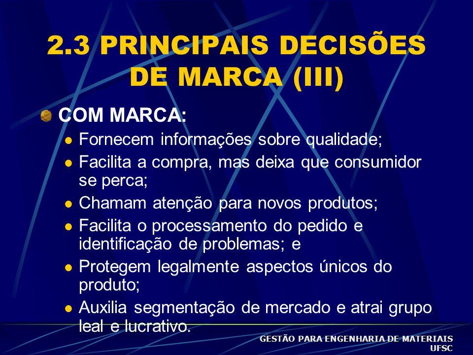 2.3 PRINCIPAIS DECISÕES DE MARCA (II) SEM MARCA: genéricos (mais barato, embalagens simples).  Desvantagens diferença no preço final é pequena com re
