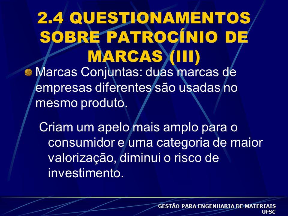 2.4 QUESTIONAMENTOS SOBRE PATROCÍNIO DE MARCAS (III) Marcas Conjuntas: duas marcas de empresas diferentes são usadas no mesmo produto.