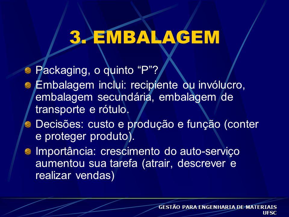 3.EMBALAGEM Packaging, o quinto P .