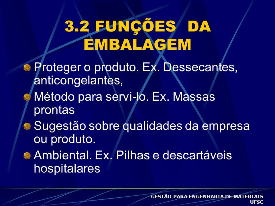 3.2 FUNÇÕES DA EMBALAGEM Proteger o produto.Ex.