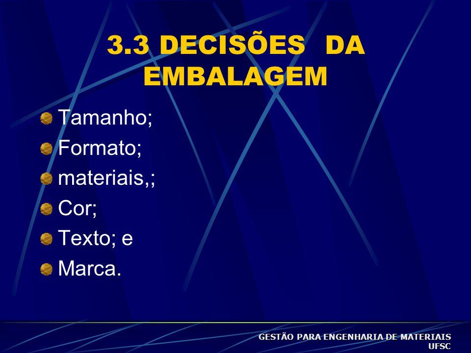 3.3 DECISÕES DA EMBALAGEM Tamanho; Formato; materiais,; Cor; Texto; e Marca.