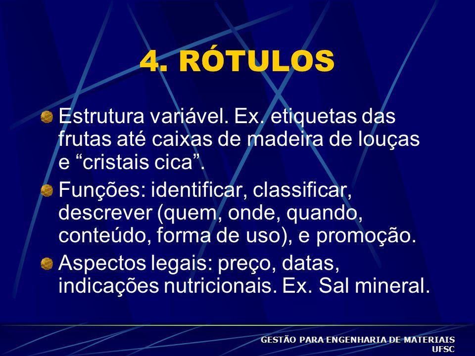 4.RÓTULOS Estrutura variável. Ex.