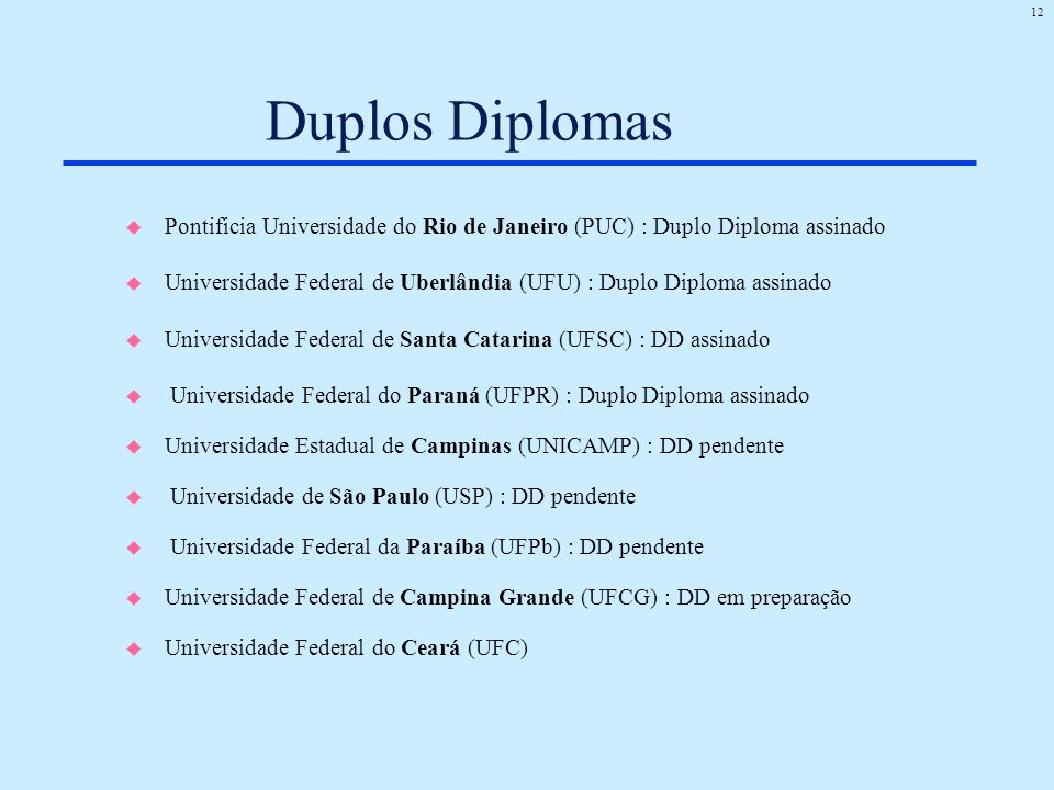 12 Duplos Diplomas u Pontificia Universidade do Rio de Janeiro (PUC) : Duplo Diploma assinado u Universidade Federal de Uberlândia (UFU) : Duplo Diplo