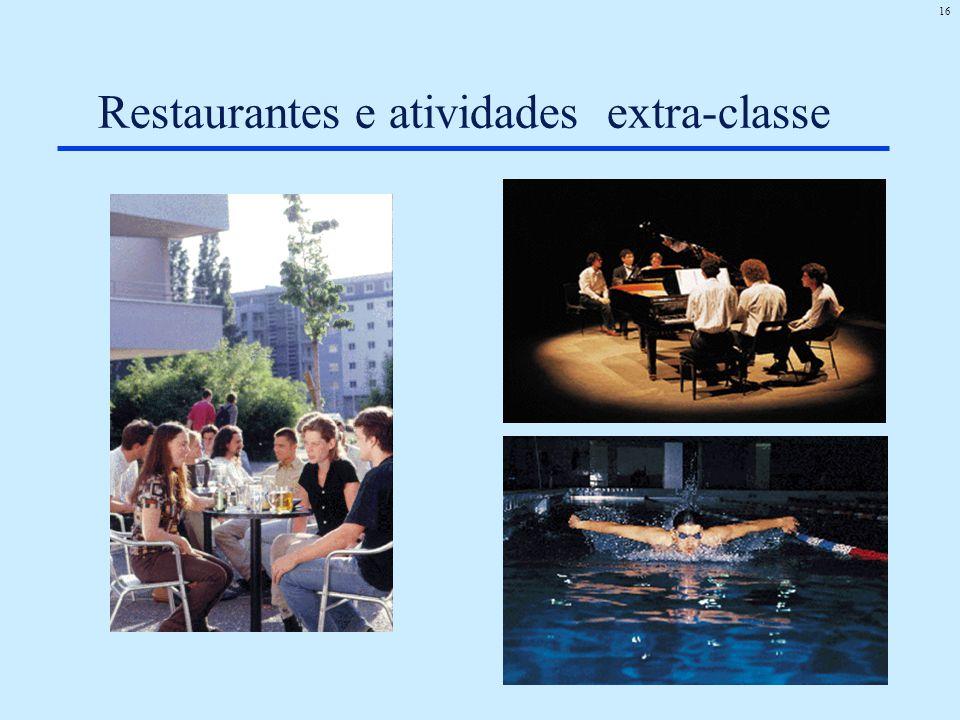 16 Restaurantes e atividades extra-classe