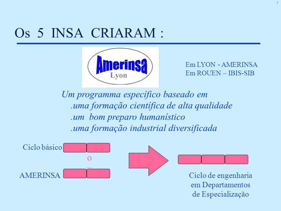 7 Os 5 INSA CRIARAM : Um programma específico baseado em.uma formação científica de alta qualidade.um bom preparo humanístico.uma formação industrial diversificada Ciclo básico Ciclo de engenharia em Departamentos de Especialização AMERINSA Em LYON - AMERINSA Em ROUEN – IBIS-SIB ouou