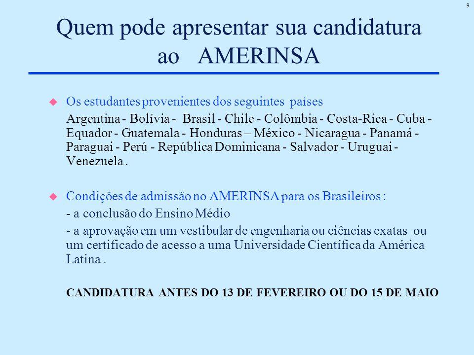 9 Quem pode apresentar sua candidatura ao AMERINSA u Os estudantes provenientes dos seguintes países Argentina - Bolívia - Brasil - Chile - Colômbia -